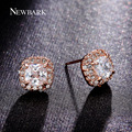 NEWBARK Aretes Exquisito 1.5 quilates de Corte Princesa 4 Prong Sonido Pequeño Diamante de LA CZ pavimentado 2 Colores Blanco Rosa de Oro plateado