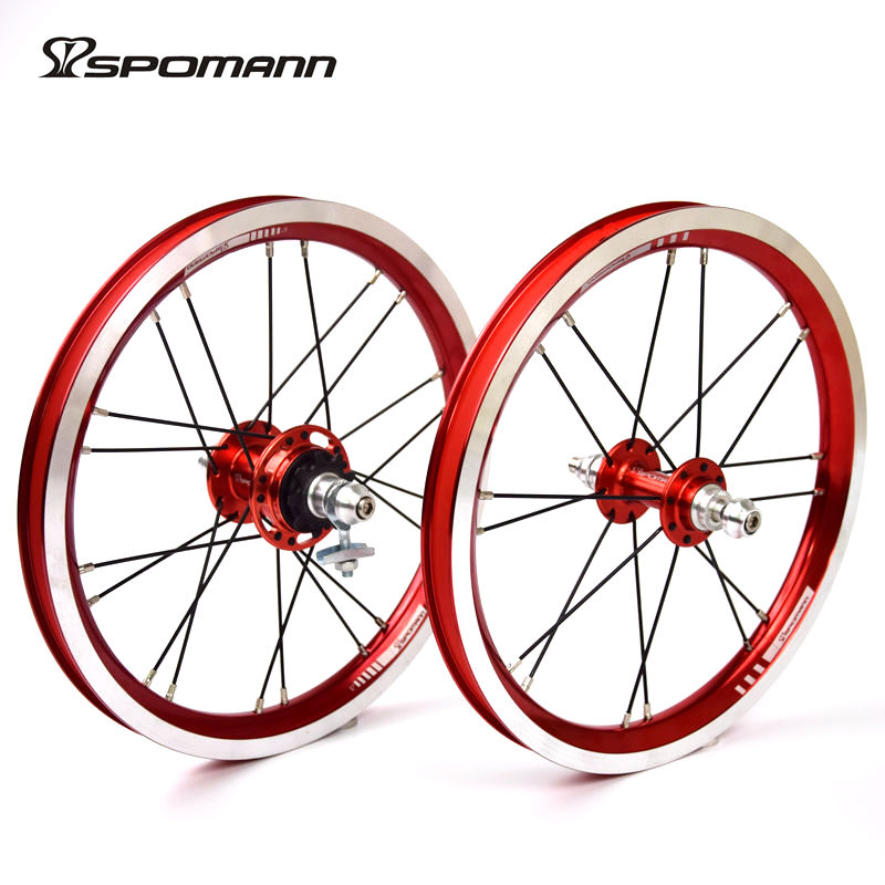 Spomann Alloy Bicycle Wheelset 14 Inch Single Speeds 9T BMX Wheels Folding Bike 4 Bearings Wheel V Brake Ultra-Light Bike Parts ldcnc wheel set bya412 upgrade wheels set folding bike 14 inch lightest wheels lighter than mialo wheels