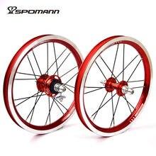 Spomann Alloy Bicycle Wheelset 14 Inch Single Speeds 9T BMX Wheels Folding Bike 4 Bearings Wheel V Brake Ultra-Light Bike Parts