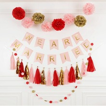 Wedding Decoration Banner Happy Wedding Banner Paper Happy Married Banner Wedding Decorations Supplies Birthday Party Decoration