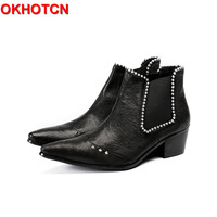 Fashion Med Heel Chelsea Boots Men Cow Leather Pointed Toe Rivets Men Shoes Black Slip On Plus Size Crystal Ankle Botas Hombre