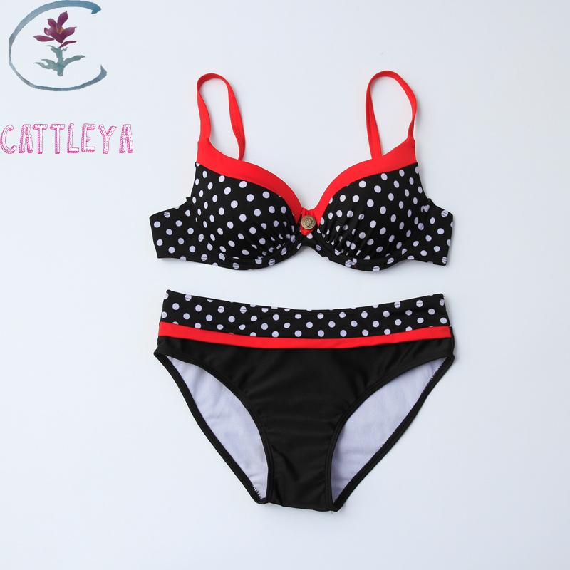 cattleya 2017 new swimsuit bikini sexy polka dot large cup. Black Bedroom Furniture Sets. Home Design Ideas