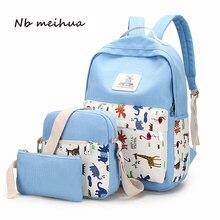 Свежий рюкзак женский высокое качество печати холст Школьные сумки для подростка Meninas школьный Рюкзаки Mochila с 3 шт./компл.