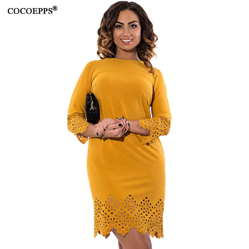 dafb2501fe8b94 Autumn Vintage Women Dresses Sexy Big Size Hollow Out Elegant Dress Solid  Plus Size Office Ladies