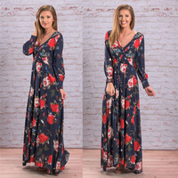 Women Chiffon Dres 2017 New Women Long Sleeve Chiffon Floral Long Sleeve Maxi Evening Party Dress
