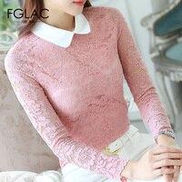FGLAC Women Blouses Fashion Casual Long Sleeved Peter Pan Collar Lace Tops Elegant Slim Autumn Women
