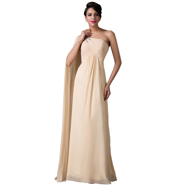 Fast Delivery New Special One Shoulder Apricot Long Evening Dresses ...