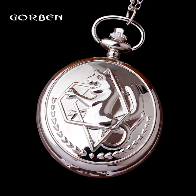 Fashion Small Fullmetal Alchemist Quartz Silver Pocket Watch with Necklace Chain