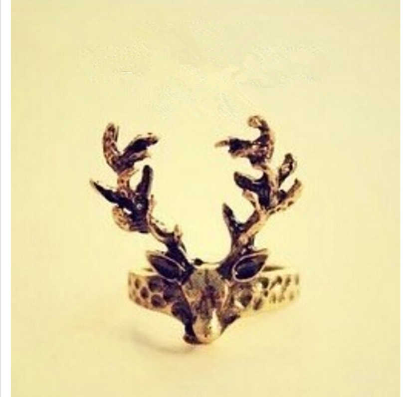 Women's Fashion Retro Vintage Deer Antlers Tail Ring 8RD113