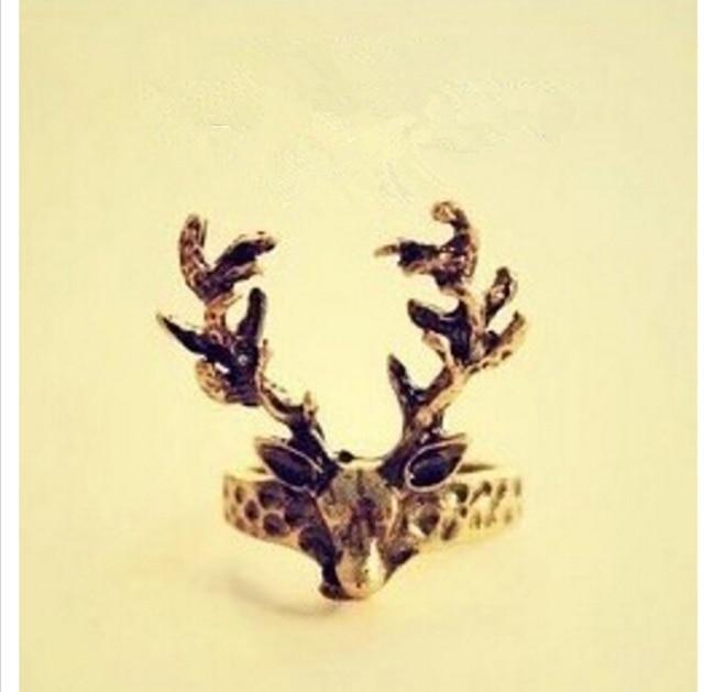Women's Fashion Retro Vintage Deer Antlers Tail Ring 8RD113