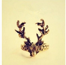 Women's Fashion Retro Vintage Deer Antlers Tail Ring 8RD113(China)