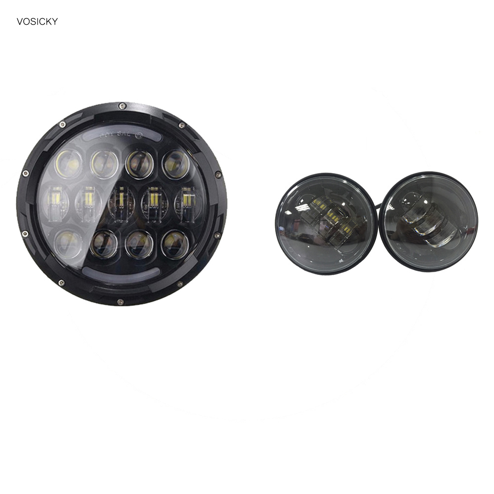 78W 7 inch Round Led Headlight halo black Hi/Low Beam with a pair 4.5 inch fog light Lamp for harley 2pcs new design 7inch 78w hi lo beam headlamp 7 led headlight for wrangler round 78w led headlights with drl