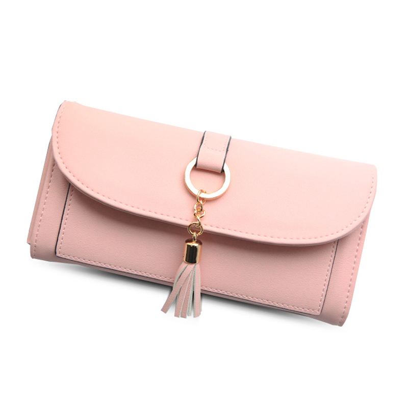 Wallet Female Coin Purse Leather Wallet Women Purses Card And Photo Holder Tassel Hardware Tassel Long Fashion Women Money Bag simple organizer wallet women long design thin purse female coin keeper card holder phone pocket money bag bolsas portefeuille