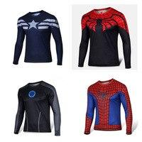 Super Heroes Z Długim Rękawem T Shirty Iron Man Spiderman Zielony latarnia Superman Captain America Czarny Adam Lampy Błyskowej x-men T koszule