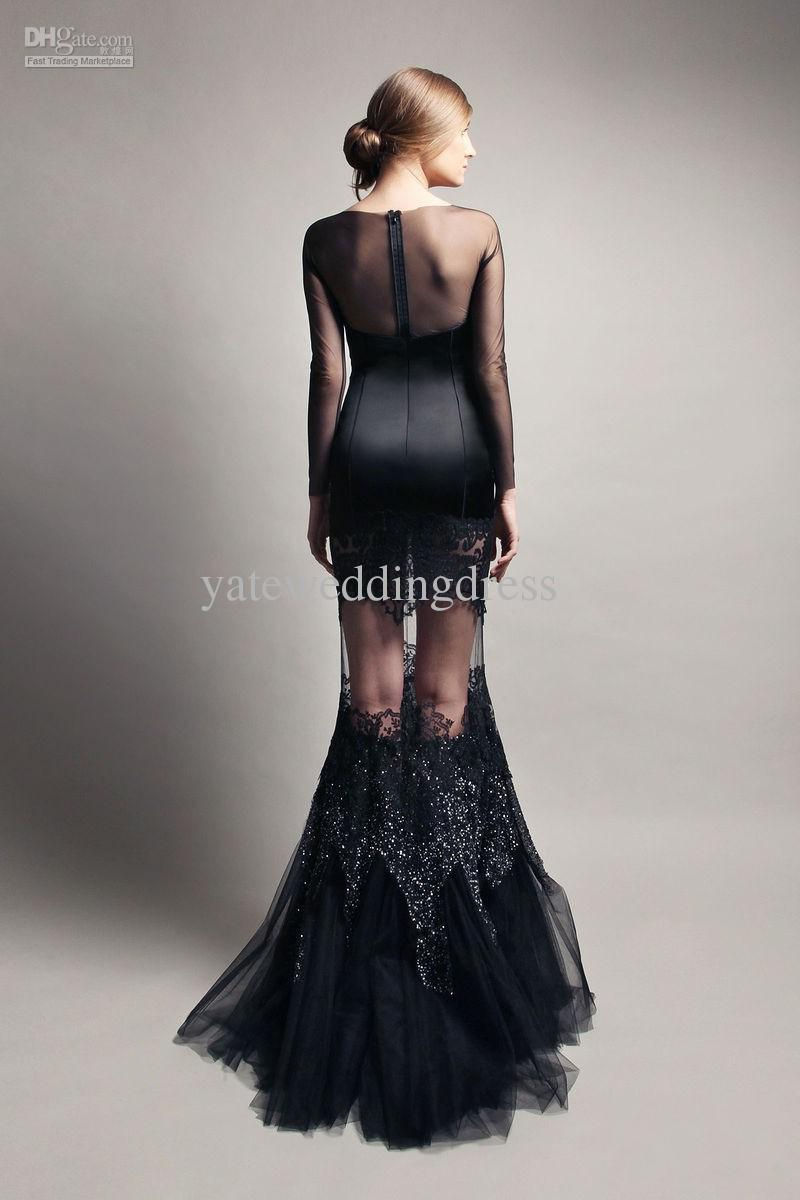 Black modern dress - Modern Sexy Long Sleeves Boat Neck Black Mermaid Evening Prom Dress Lace Sheer Back Long Party Dresses Special Occasion Gown In Evening Dresses From