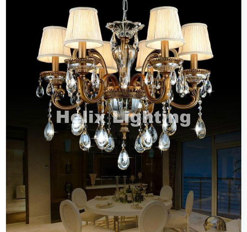 Hot Sellig 6L 8L 10L Arms Crystal Chandelier Light Fixture Antique Brass Luxurious