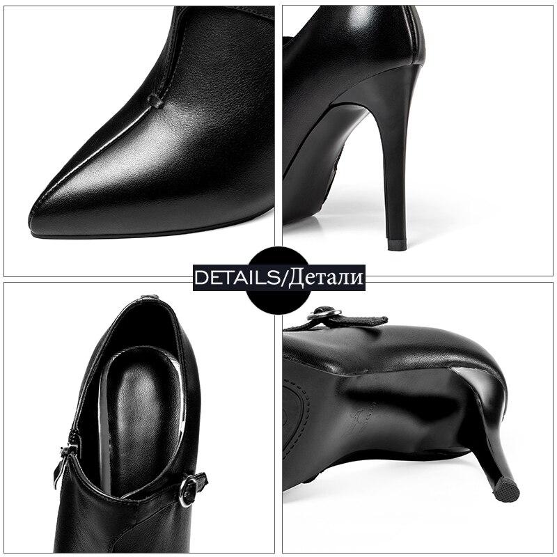 Pointu 2019 Noir Talons Couverture Zip Vache Cou En Chaussures Femmes Printemps brown Femme Cuir Wetkiss Pompes Haute Bout Mode FXwqZ4