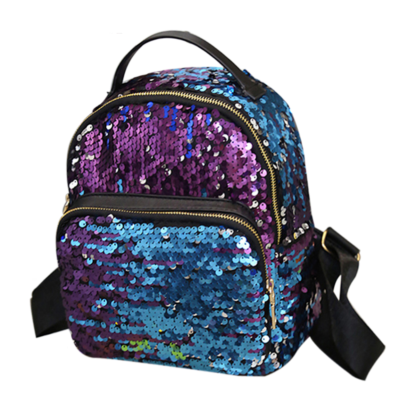 2017 New Arrival Women All-match Bag PU Leather Sequins Backpack Girls Small Travel Princess Bling Backpacks Fashion  Small Bag