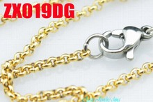 """14""""-38"""" golden color  stainless steel necklace  2mm round rolo link chains women fashion jewelry 20pcs ZX019DG"""