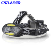 CREE XM L T6 3800LM 7 Modes 4 LED Bulbs Rechargeable White LED Headlamp with Infrared Sensor Switch (2*18650 Batteries) (Black)