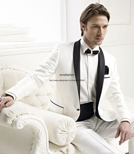 Hot sale tuxedos White men dress Shawl collar groom suits wedding ...