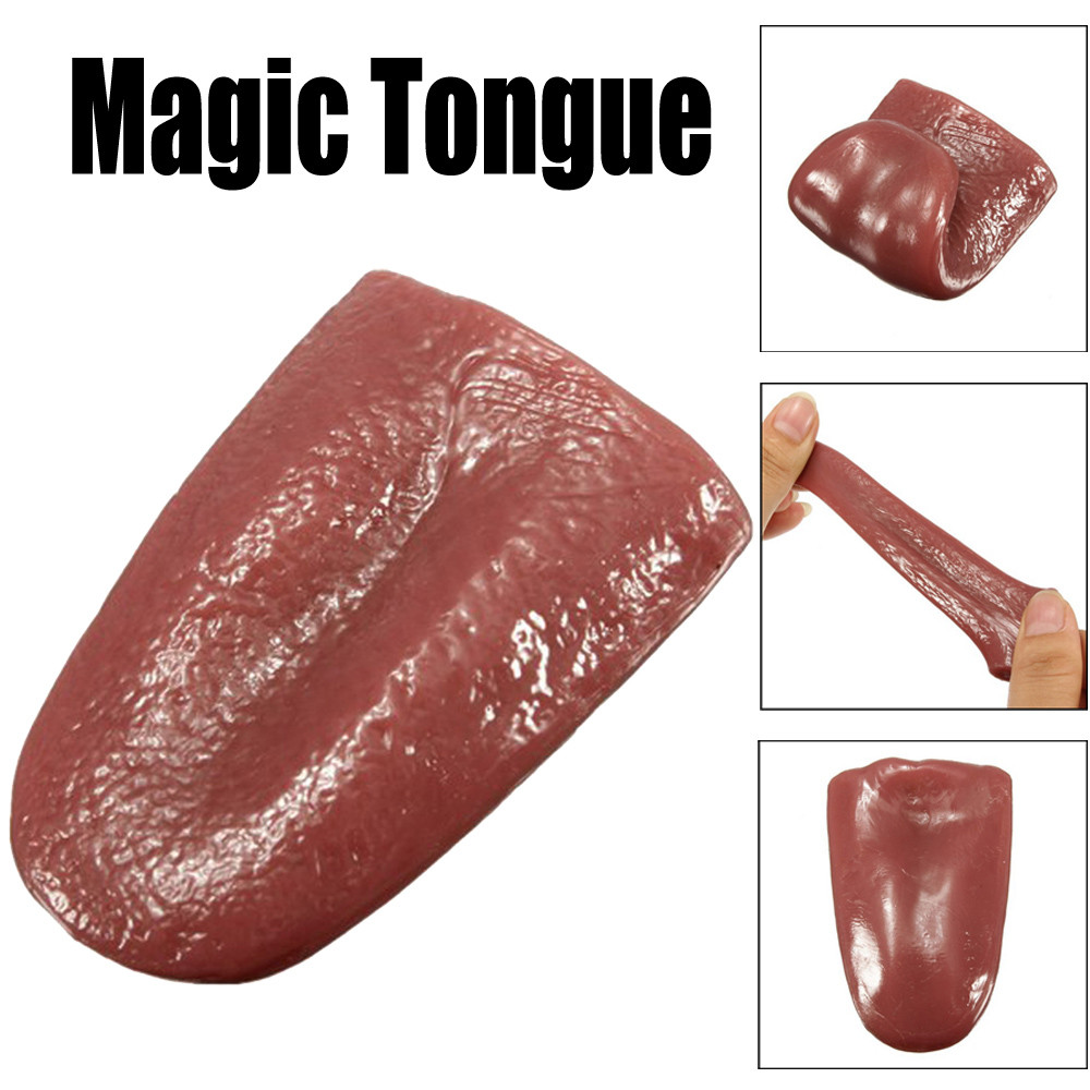Halloween Toy Kids Kuso Tongue Trick Magic Horrible Tongue Fake Tounge  Stress Reliever Decor Realistic stretches Elasticity Toy