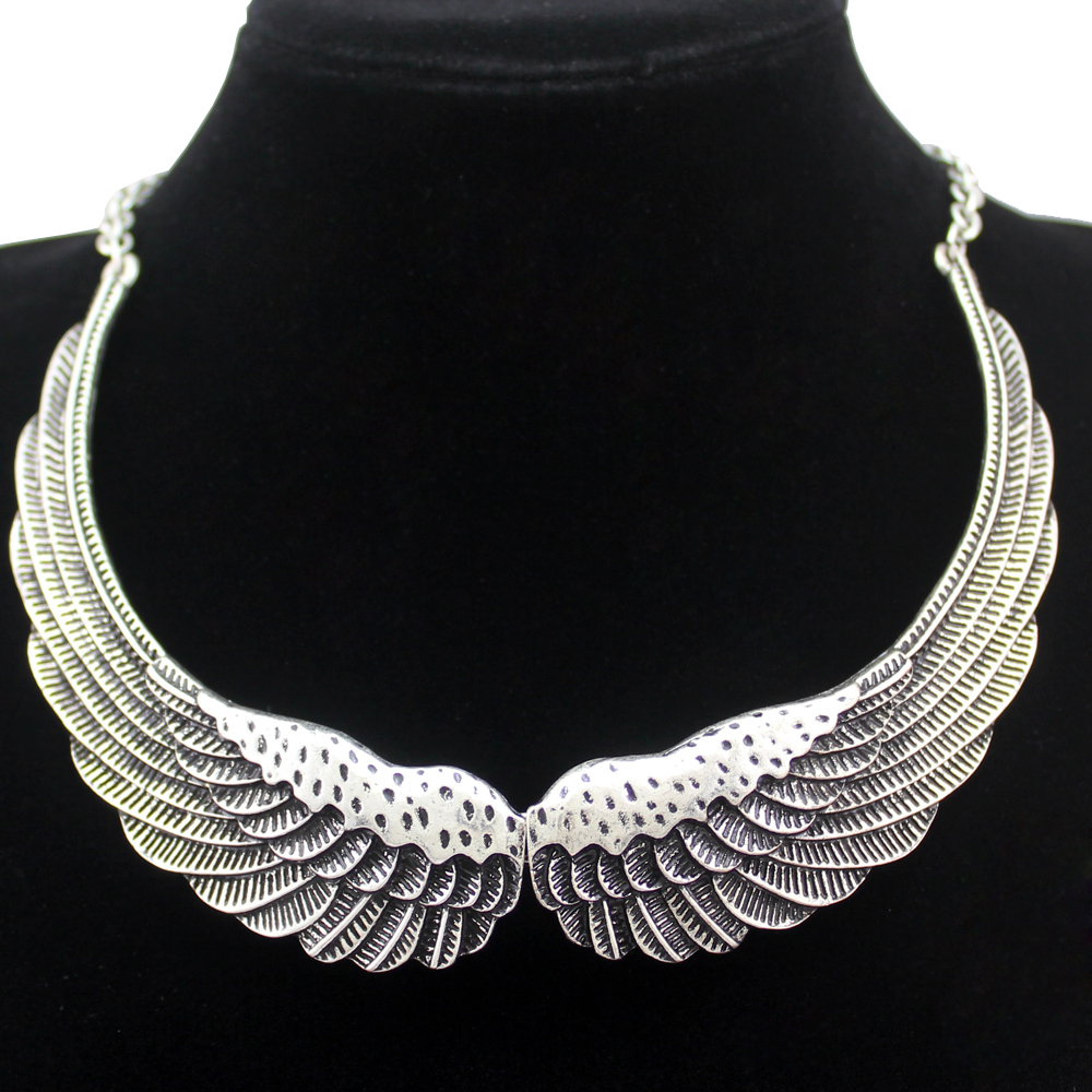 Retro Silver Big Angel Guardian Wing Statement Chain Collar Choker Bib Necklace Jewelry 2017 New