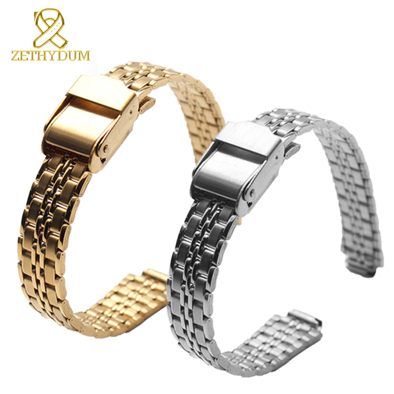 Thin solid metal watch band Convex interface watchband woman Stainless steel bracelet 6 7 8 9 10 11 12 13 14mm watch strap neway 12mm ceramic c 316l stainless steel watchband convex interface women watch strap small wristwatches band belt bracele