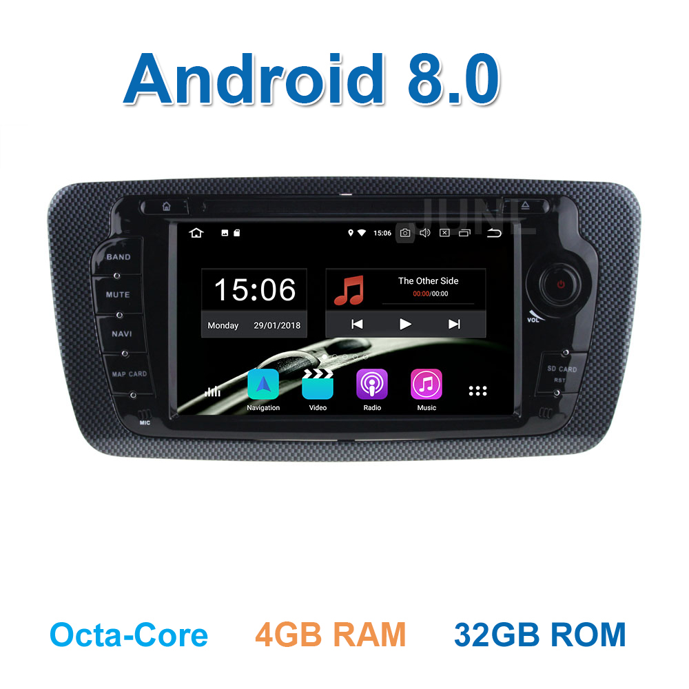 4 GB RAM 1024*600 Android 8.0 DVD de Voiture Lecteur GPS pour Seat Ibiza 2009-2013 avec WiFi Bluetooth Radio GPS