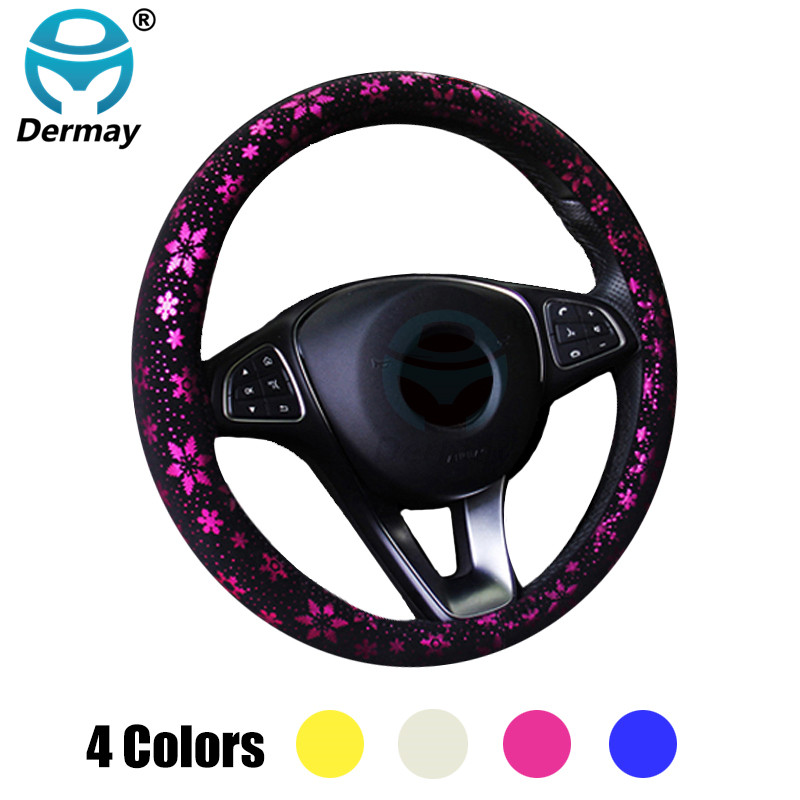 DERMAY Car Steering Wheel Cover Shiny Snowflake 4 Colors Anti-slip Cute For 37-38CM Car Styling Car Steering-Wheel Free Shipping senior luxury hand knitted bv style car steering wheel cover for mini cooper