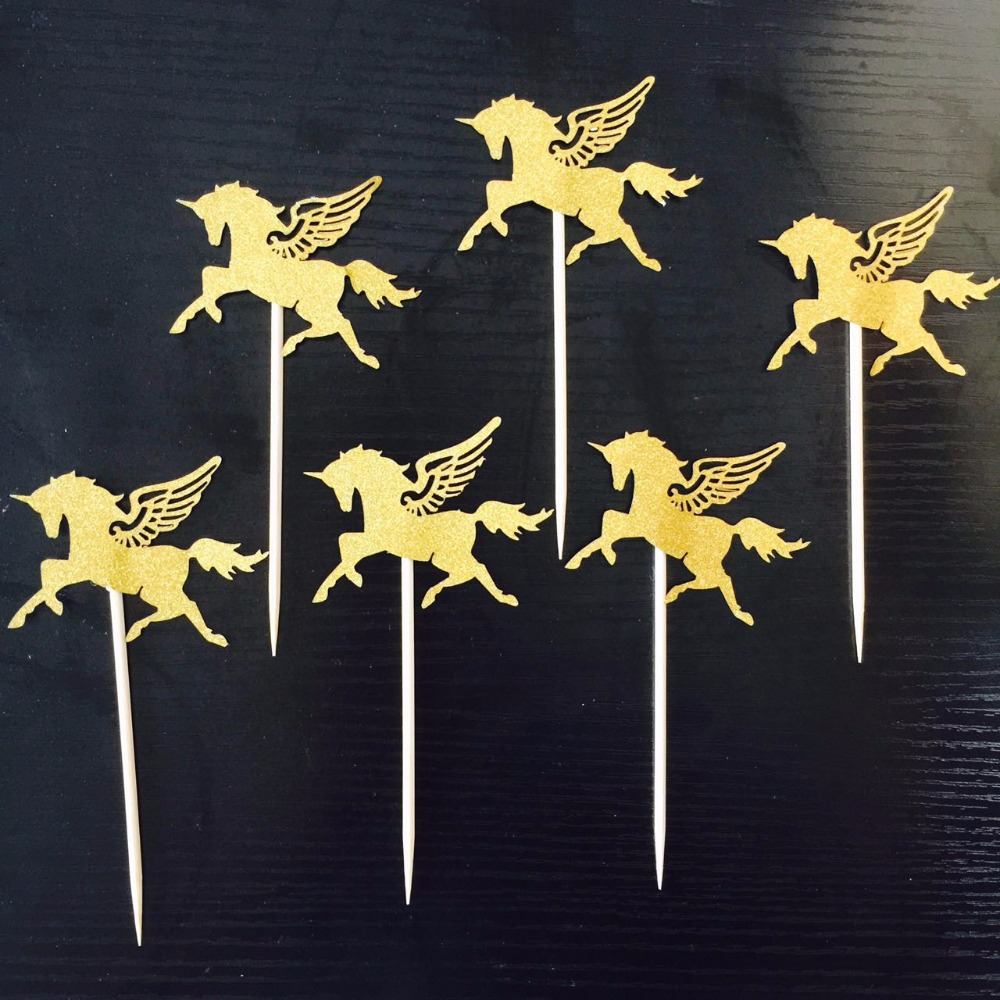 10pcs/lot Gold Unicorn Pegasus Cake Toppers Wedding Favors Boy Girl Kids Favor Baby Shower Birthday Party Cake Decoration