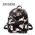 DUDINI Women Backpack  Hot Sale Fashion Causal Floral Printing Backpacks PU Leather Backpack For Teenagers Girls Mochilas