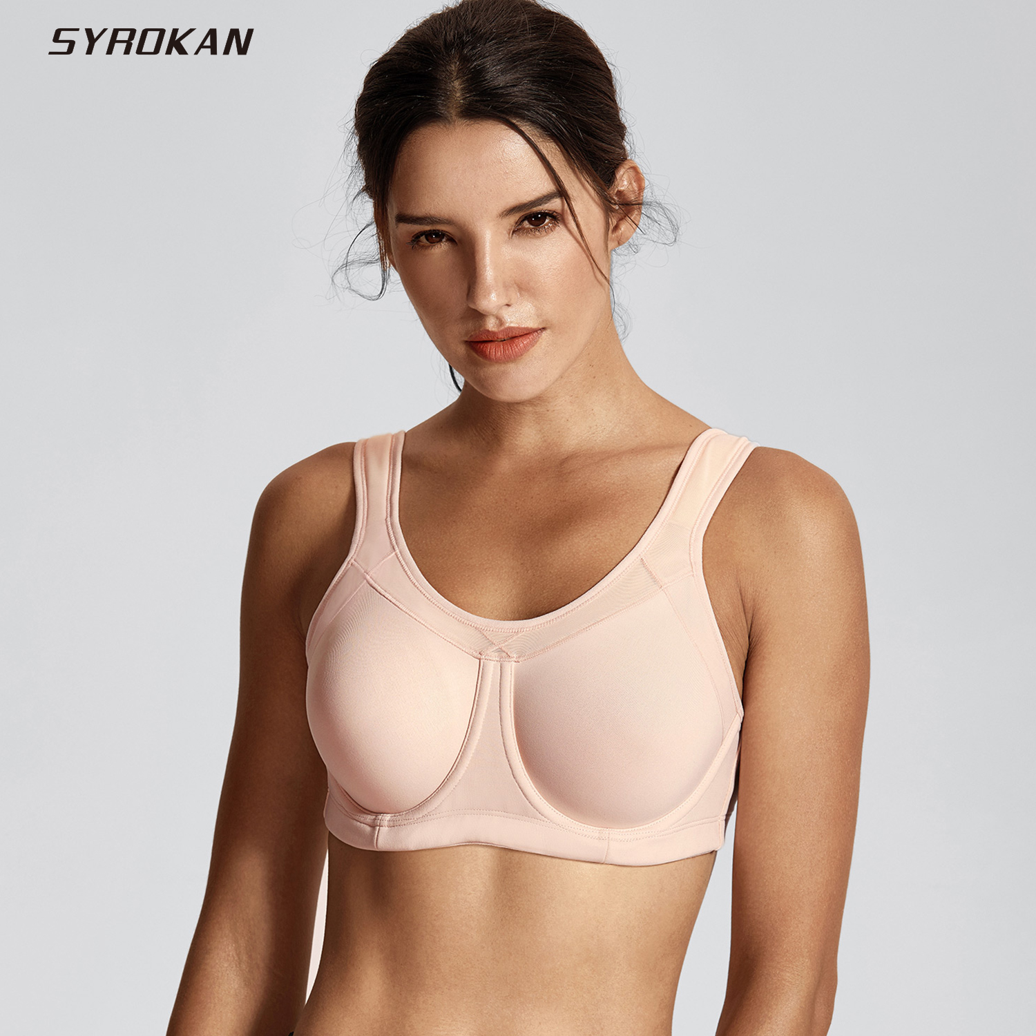 SYROKAN Women's High Impact Full Coverage Bounce Control Underwire Workout Sports Bra high impact perkins collar cut out zip design sports bra in white
