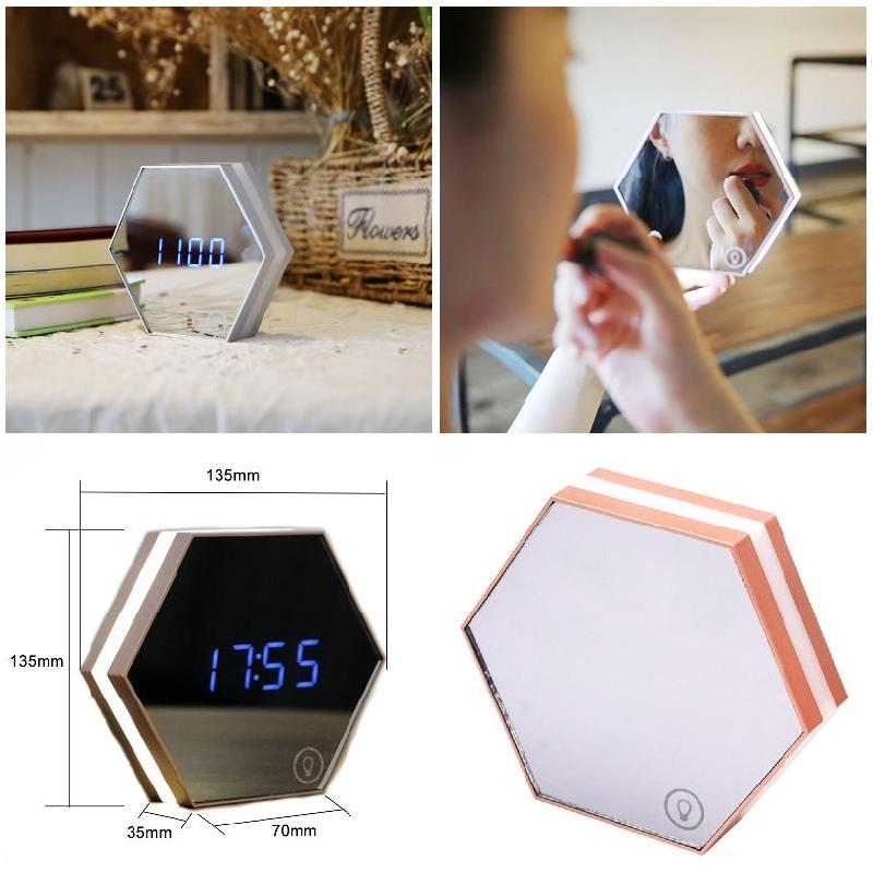 Multi-function Creative Led Makeup Mirror Rechargeable Night Light With Digital Display Alarm Clock For Travel Home @ME8 creative target toy led red word display mute alarm clock