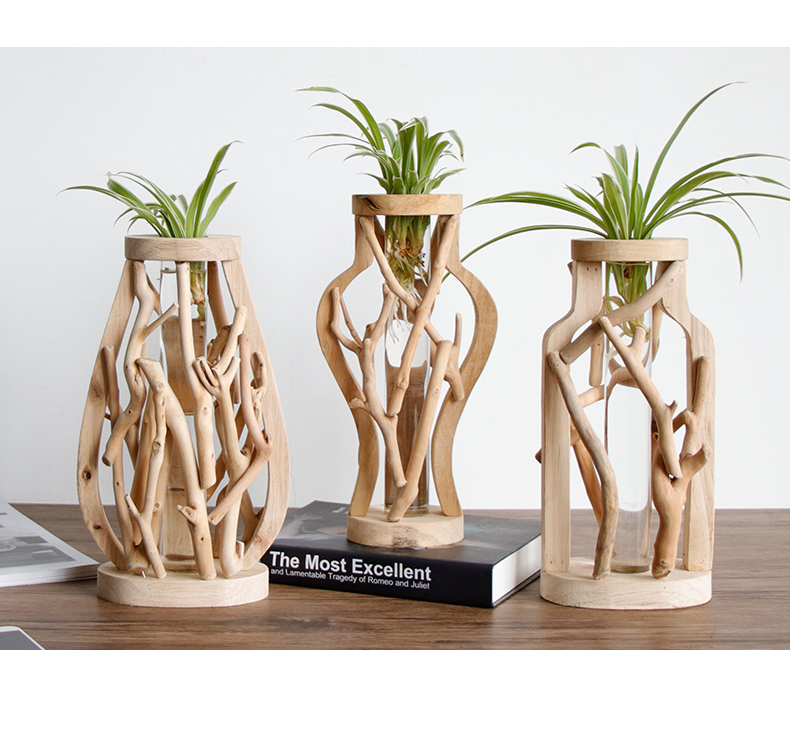 HTB1q30RRbvpK1RjSZPiq6zmwXXae - Pure Handwork Wooden Vase Decorated Solid Wood Flower Pot for Creative Glass Floral Hydroponic Container Home Decorative Vase