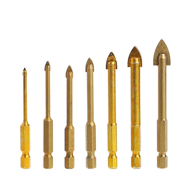 7 Pcs Titanium Coated Glass Drill Bit Set 3/4/5/6/8/10/12mm With Hex Shank 13pcs set hss high speed steel twist drill bit for metal titanium coated drill 1 4 hex shank 1 5 6 5mm power tools par ad1038