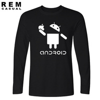 2016 New Fashion Men Long Sleeve T Shirts Android Robot Male Apple Humor Logo Printed Funny