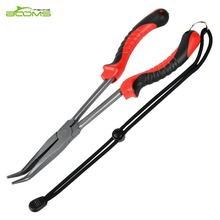 Booms Fishing F05 Fishing Tool Bent Long Nose Fishing Pliers 28 cm PTFE Plated Stainless Steel
