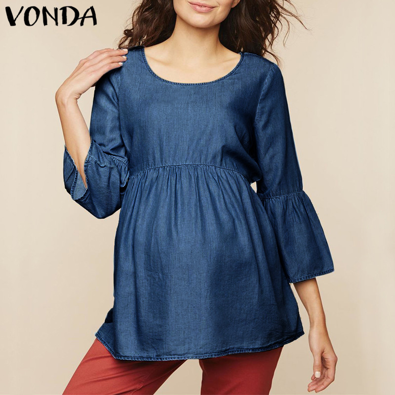 VONDA Maternity Clothes 2018 Summer Women Blouse Elegant Casual Loose Solid Shirts Pregnant Tee Tops Plus Size Blusas Pullover