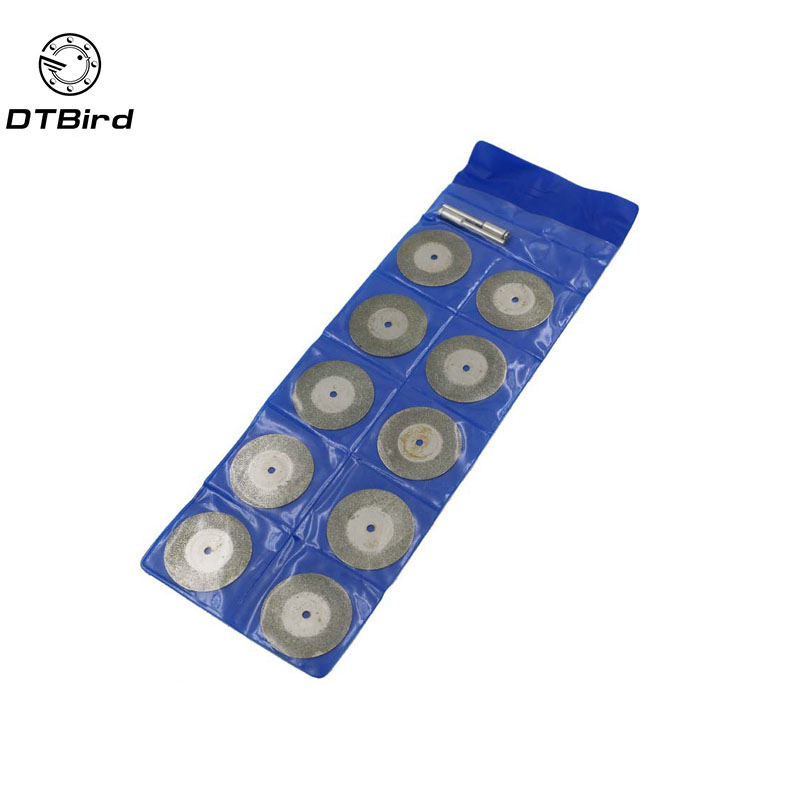 10pcs Blades 2pcs Rod Diamond Abrasive Disc 35mm Dremel Tool Rotary Accessory Cutting Blades
