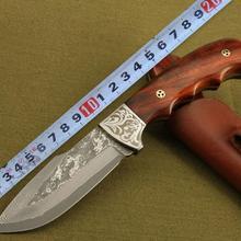 Нож с фиксированным лезвием ручной работы кованый дамасский стальной походный охотничий нож 58 HRC стальная эбеновая ручка с кожаной оболочкой