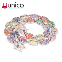 UUNICO 16inch 30inch Coffee beans Bracelet Puffed Marine Chain 13mm Hip hop Gold Silver Link Fashion Punk Choker Charms Jewelry.