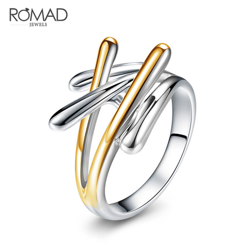 Romad New Fashion Anillos Gold & Silver Color Cross Rings For Women Size 7 8 9 Female Party Finger Ring Jewelry bague femme