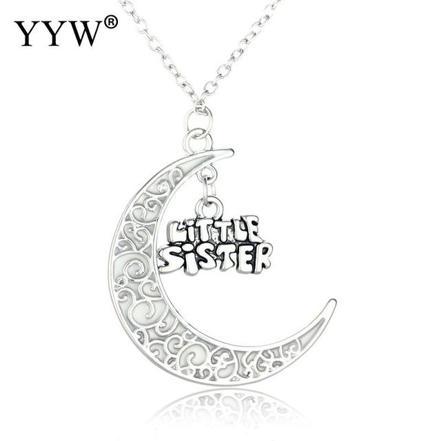 free shipping glowing moon necklaces pendants with letter little sister luminous glowing necklace sister