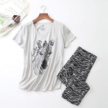 المرأة قصيرة الأكمام منامة القطن زيبرا الطباعة ملابس خاصة حجم كبير رقيقة منامة ملابس النوم بيجامة موهير S 3XL Ou كود