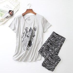Image 1 - נשים שרוולים קצרים פיג מה כותנה זברה הדפסת הלבשת בתוספת גודל דק פיג Loungewear פיג מה Mujer S 3XL Ou קוד בגדים