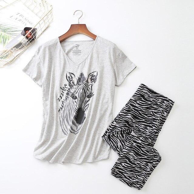 נשים שרוולים קצרים פיג מה כותנה זברה הדפסת הלבשת בתוספת גודל דק פיג Loungewear פיג מה Mujer S 3XL Ou קוד בגדים