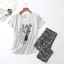 여성 반팔 잠옷 코튼 얼룩말 인쇄 잠옷 플러스 사이즈 얇은 잠옷 loungewear pijama mujer S 3XL 코드 옷