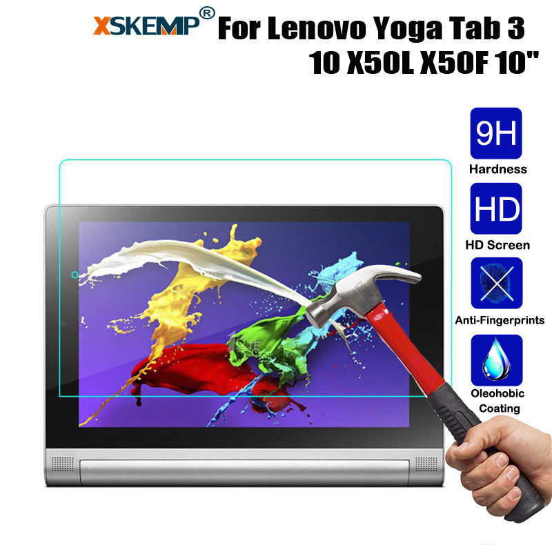 XSKEMP 9H Premium Screen Protector Tempered Glass For Lenovo Yoga Tab 3 10 Scratch Proof Ultra-thin Tablet PC Protective Film new 9h glass tempered for huawei mediapad t5 10 tempered glass screen film for huawei mediapad t5 10 inch tablet screen film