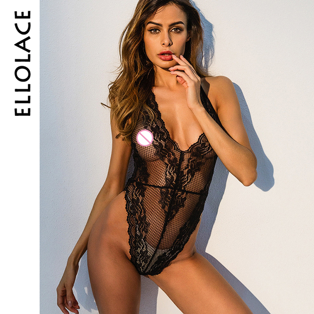 03f6f77f37 Ellolace sexy lace bodysuit sleeveless lace sheer mesh teddy transparent  jumpsuit deep v neck halter backless